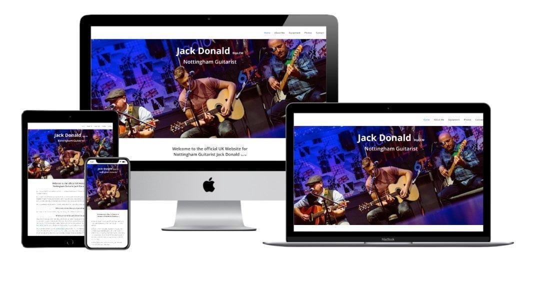 Jack Donald guitarist nottingham website mock up