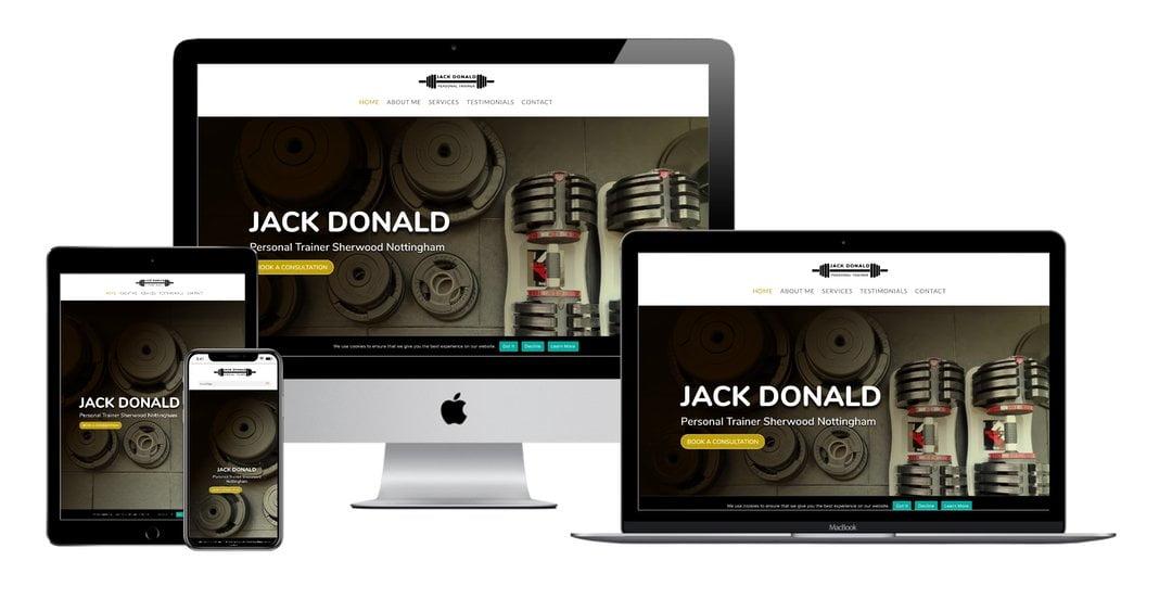 Jack donald personal trainer nottingham website mock up