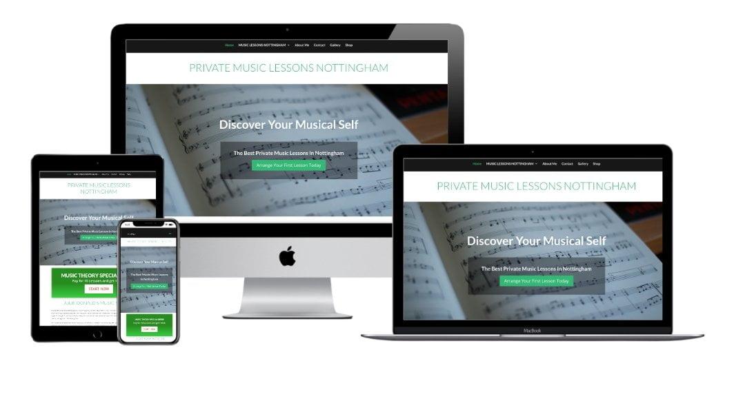 Julie donalds music school nottingham website mockup