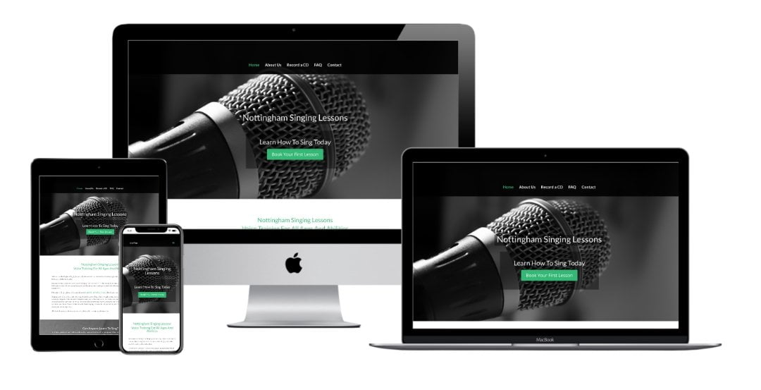 Nottingham Singing Lessons website mock up